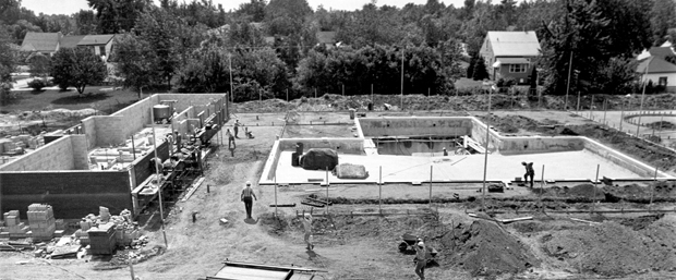 uly 13/1967-Construction continues on the new municipal swimming pool next to Riverside Arena in Riverside.