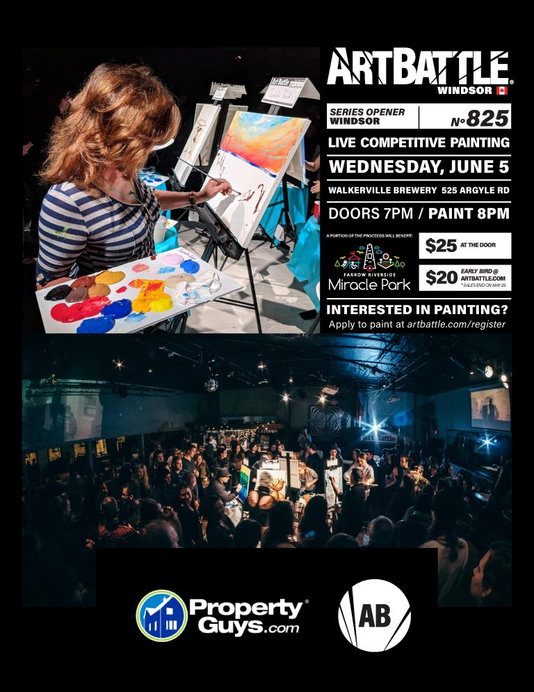 Art Battle Windsor on Wednesday, June 5th at Walkerville Brewery. Live Competitive Painting. A portion of the proceeds benefit Farrow Riverside Miracle Park.